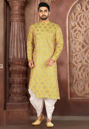 Woven Art Silk Jacquard Dhoti Kurta in Light Olive Green