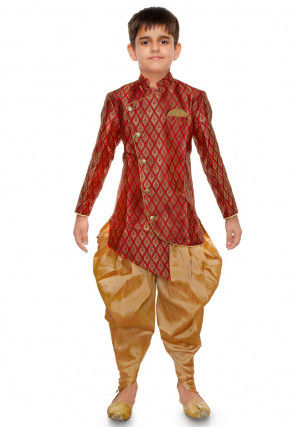 Woven Art Silk Jacquard Dhoti Kurta in Red
