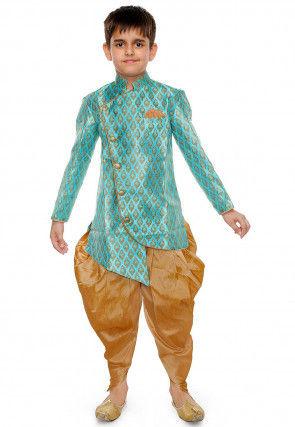 Woven Art Silk Jacquard Dhoti Kurta in Sky Blue