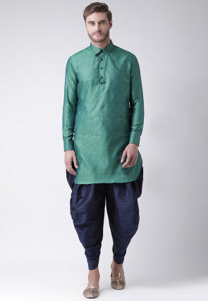 Woven Art Silk Jacquard Dhoti Kurta in Teal Green