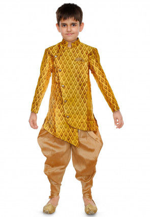 Woven Art Silk Jacquard Dhoti Kurta in Yellow