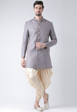 Woven Art Silk Jacquard Dhoti Sherwani in Beige and Navy Blue