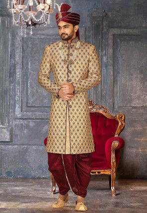 Woven Art Silk jacquard Dhoti Sherwani in Beige