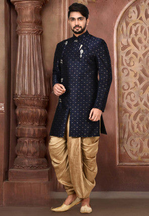 Woven Art Silk Jacquard Dhoti Sherwani in Navy Blue
