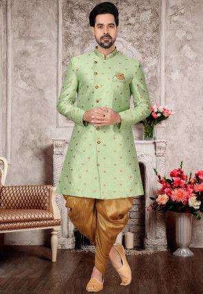 Woven Art Silk Jacquard Dhoti Sherwani in Pastel Green