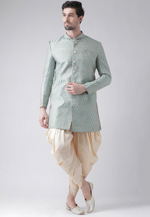 Woven Art Silk Jacquard Dhoti Sherwani in Sky Blue