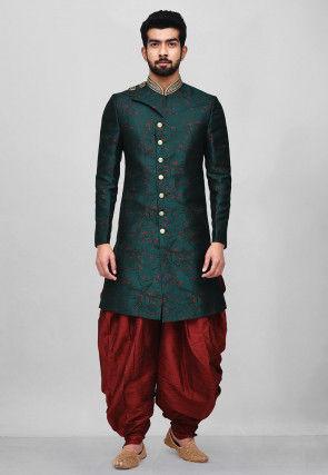Woven Art Silk Jacquard Dhoti Sherwani in Teal Blue