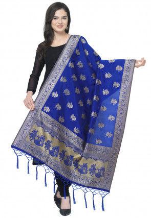 Woven Art Silk Jacquard Dupatta in Blue