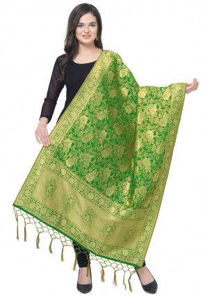 Woven Art Silk Jacquard Dupatta in Green