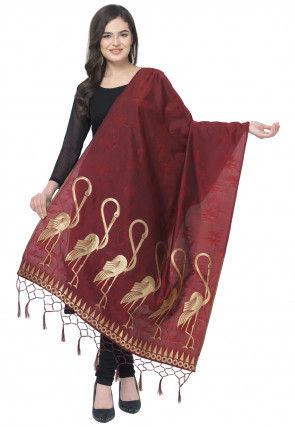 Woven Art Silk Jacquard Dupatta in Maroon