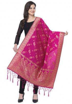 Woven Art Silk Jacquard Dupatta in Pink