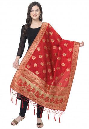 Woven Art Silk Jacquard Dupatta in Red