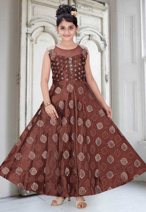 Woven Art Silk Jacquard Gown in Brown