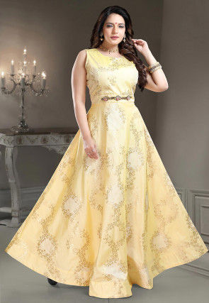 Woven Art Silk Jacquard Gown in Light Yellow