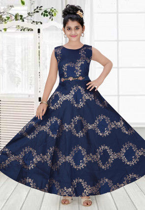 Woven Art Silk Jacquard Gown in Navy Blue