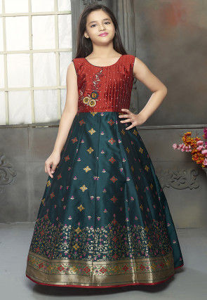Woven Art Silk Jacquard Gown in Teal Blue and Maroon