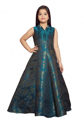 Woven Art Silk Jacquard Gown in Teal Blue