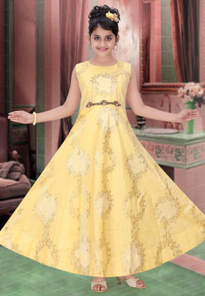 Woven Art Silk Jacquard Gown in Yellow