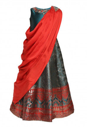 Woven Art Silk Jacquard Gown with Attached Dupatta in Blue