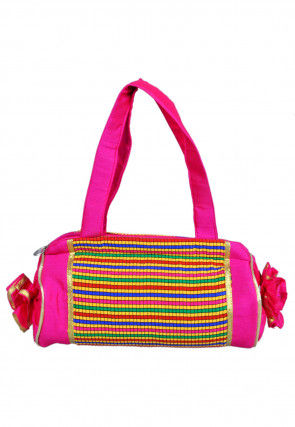 Woven Art Silk Jacquard Hand Bag in Pink and Multicolor