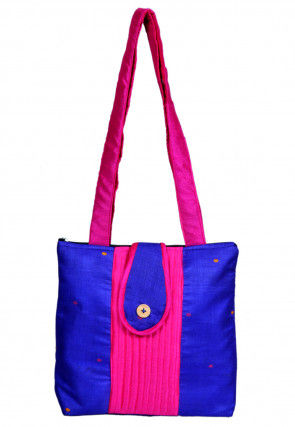 Woven Art Silk Jacquard Hand Bag in Royal and Pink