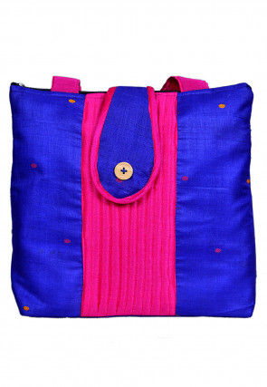 Woven Art Silk Jacquard Hand Bag in Royal Blue and Fuchsia