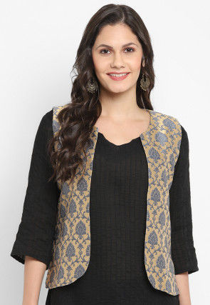 Woven Art Silk Jacquard Jacket in Beige and Grey
