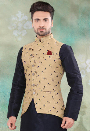 Woven Art Silk Jacquard Jacket in Beige