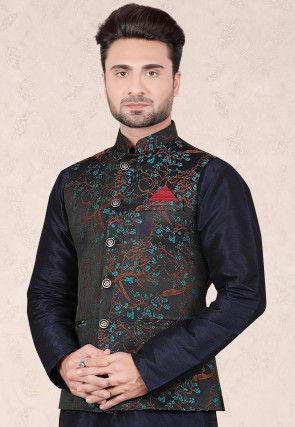 Woven Art Silk Jacquard Jacket in Black