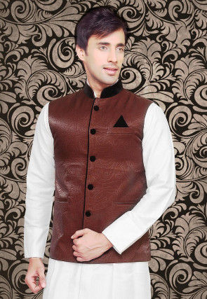 Woven Art Silk Jacquard Jacket in Brown