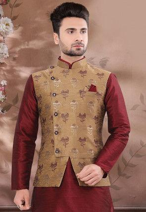 Woven Art Silk Jacquard Jacket in Dark Beige