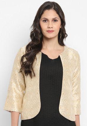 Woven Art Silk Jacquard Jacket in Light Beige