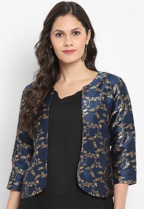 Woven Art Silk Jacquard Jacket in Navy Blue