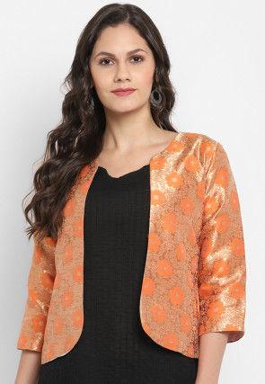 Woven Art Silk Jacquard Jacket in Orange