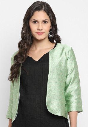 Woven Art Silk Jacquard Jacket in Pastel Green