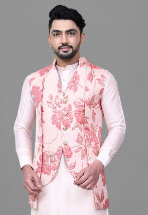 Woven Art Silk Jacquard Jacket in Pink