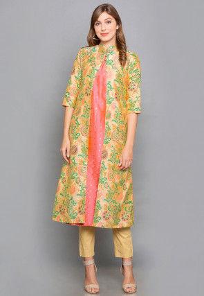 Woven Brocade Silk Jacket Style Kurta in Peach and Yellow