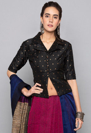 Woven Art Silk Jacquard Jacket Style Top in Black