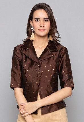 Woven Art Silk Jacquard Jacket Style Top in Dark Brown