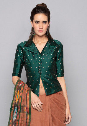 Woven Art Silk Jacquard Jacket Style Top in Dark Teal Green