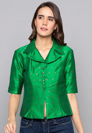 Woven Art Silk Jacquard Jacket Style Top in Green