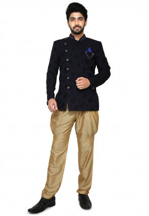 Woven Art Silk Jacquard Jodhpuri Suit in Dark Blue