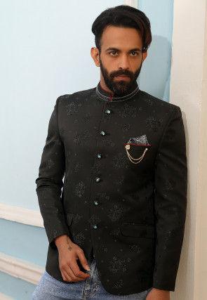 Woven Art Silk Jacquard Jodhpuri Jacket in Black
