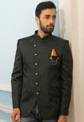 Woven Art Silk Jacquard Jodhpuri Jacket in Charcoal