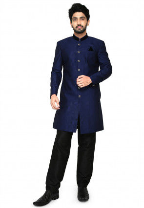 Woven Art Silk Jacquard Jodhpuri Suit in Navy Blue