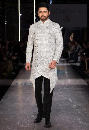Woven Art Silk Jacquard Jodhpuri Suit in Off White
