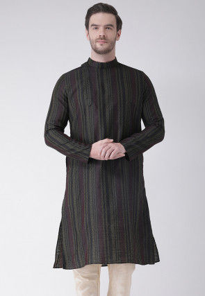 Woven Art Silk Jacquard Kurta in Charcoal Black