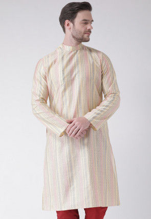 Woven Art Silk Jacquard Kurta in Cream