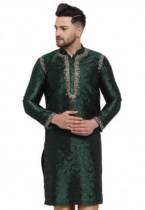 Woven Art Silk Jacquard Kurta in Dark Green