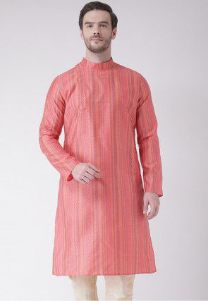 Woven Art Silk Jacquard Kurta in Dark Peach